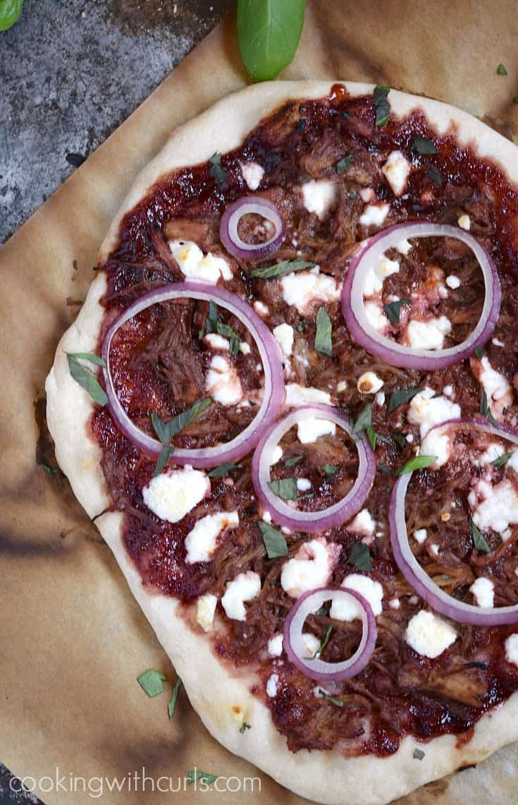 Cherry Bourbon Barbecue Pork Pizza is perfect for lunch, dinner, or as a fun appetizer | cookingwithcurls.com