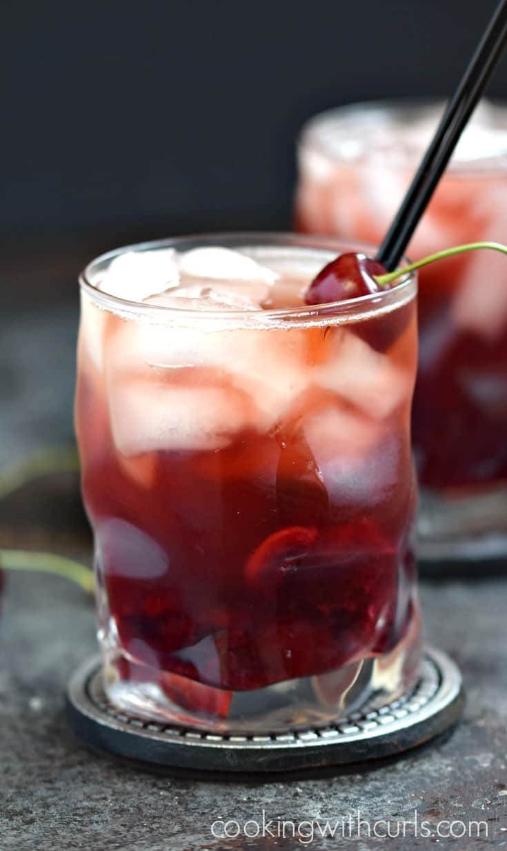 Cherry Whiskey Smash is like a cherry soda for adults | cookingwithcurls.com