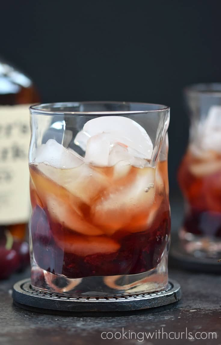 Cherry Whiskey Smash mix cookingwithcurls.com