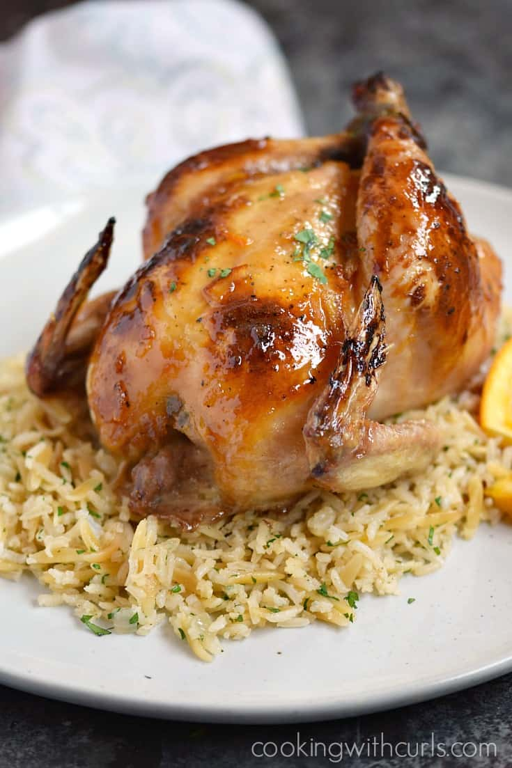 Jazz up date night with these delicious Orange Glazed Cornish Game Hens served on a bed of Rice Pilaf | cookingwithcurls.com
