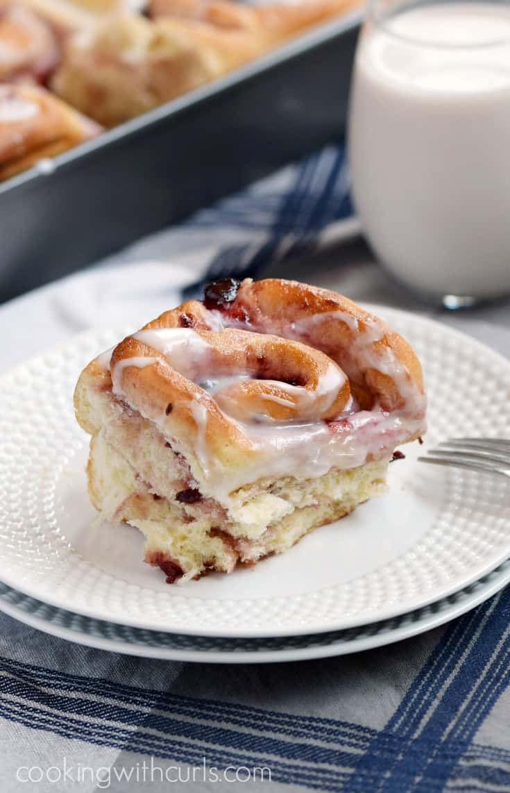 No one will stay in bed once they smell these Cherry Sweet Rolls baking in the oven | cookingwithcurls.com