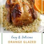 Orange glazed cornish game hen on a bed of rice pilaf with title graphic across the bottom.