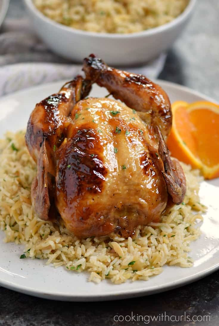 Orange Glazed Cornish Game Hens cookingwithcurls.com