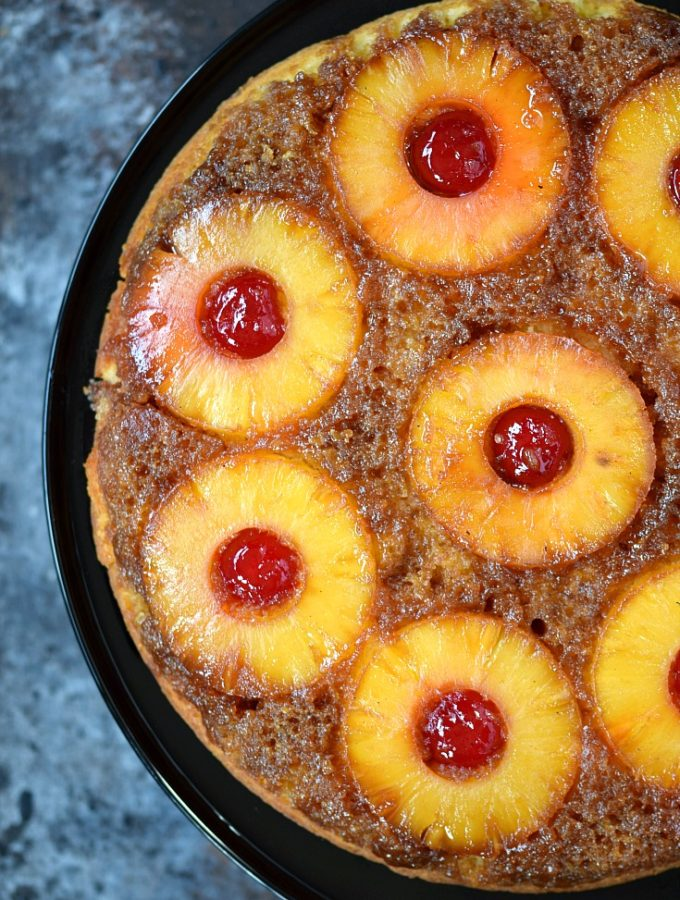 Skillet Pineapple Upside-Down Cake | cookingwithcurls.com
