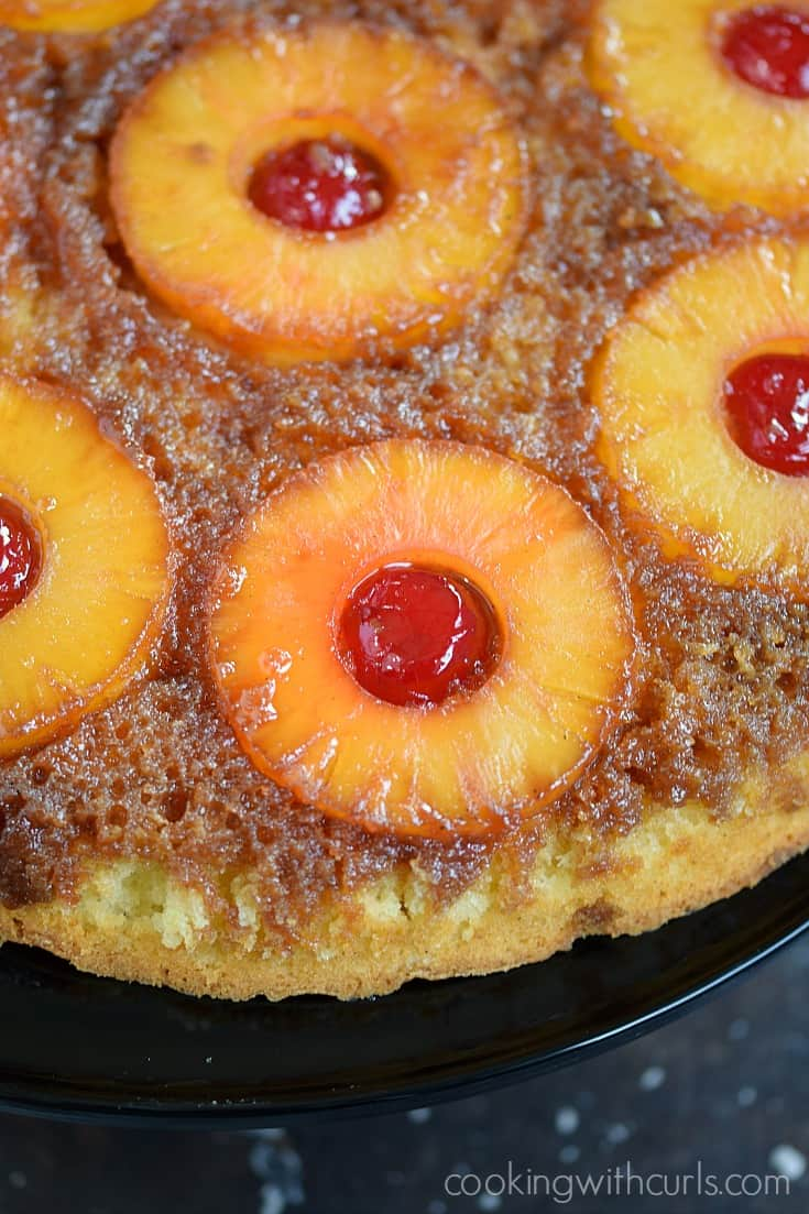 Skillet Pineapple Upside-Down Cake is the perfect dessert for your next luau | cookingwithcurls.com