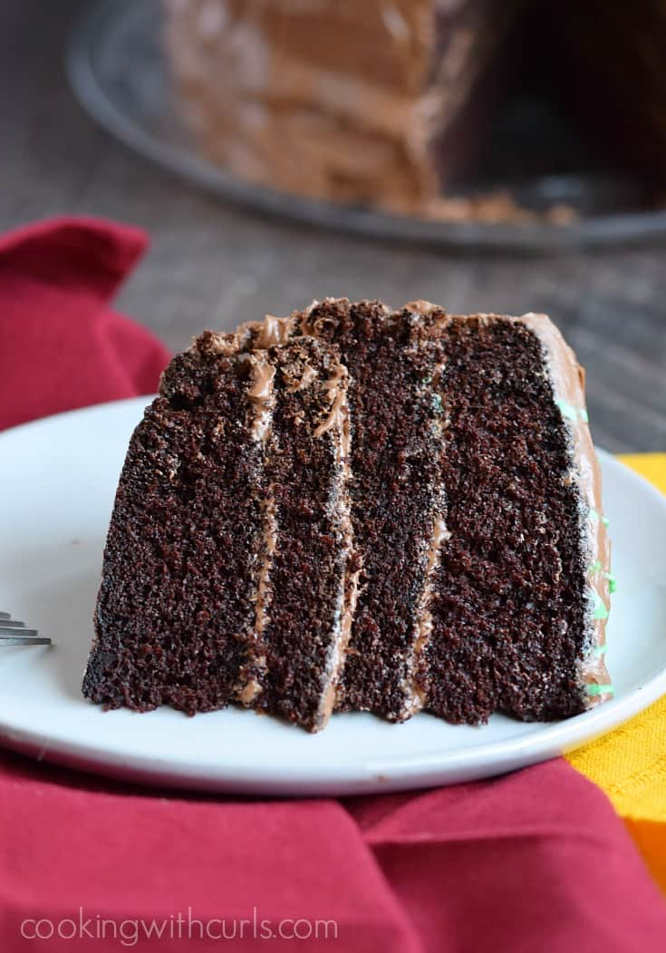 This rich and decadent Old-Fashioned Chocolate Fudge Cake will satisfy all of your chocolate cravings! cookingwithcurls.com