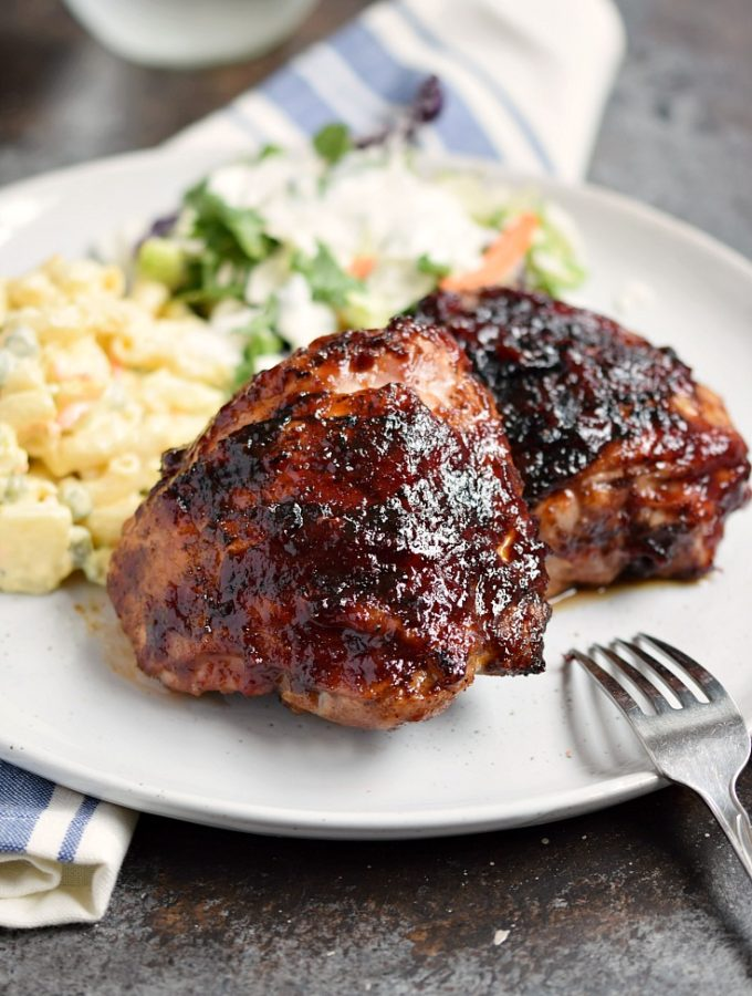Barbecue Chicken Thighs prepared on the grill are the perfect summer food | cookingwithcurls.com
