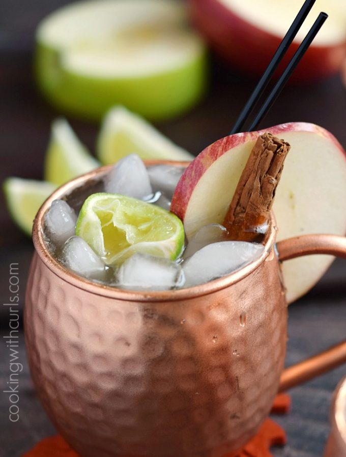 Celebrate the flavors of fall with a delicious Apple Cider Mule, complete with cinnamon sticks and apple slices | Copyright ® 2017 Cooking with Curls