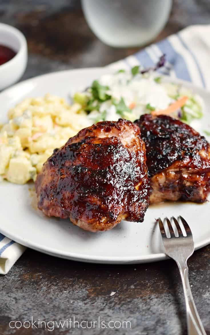 Your mouth will be watering while you wait for these Barbecue Chicken Thighs to come off the grill! cookingwithcurls.com