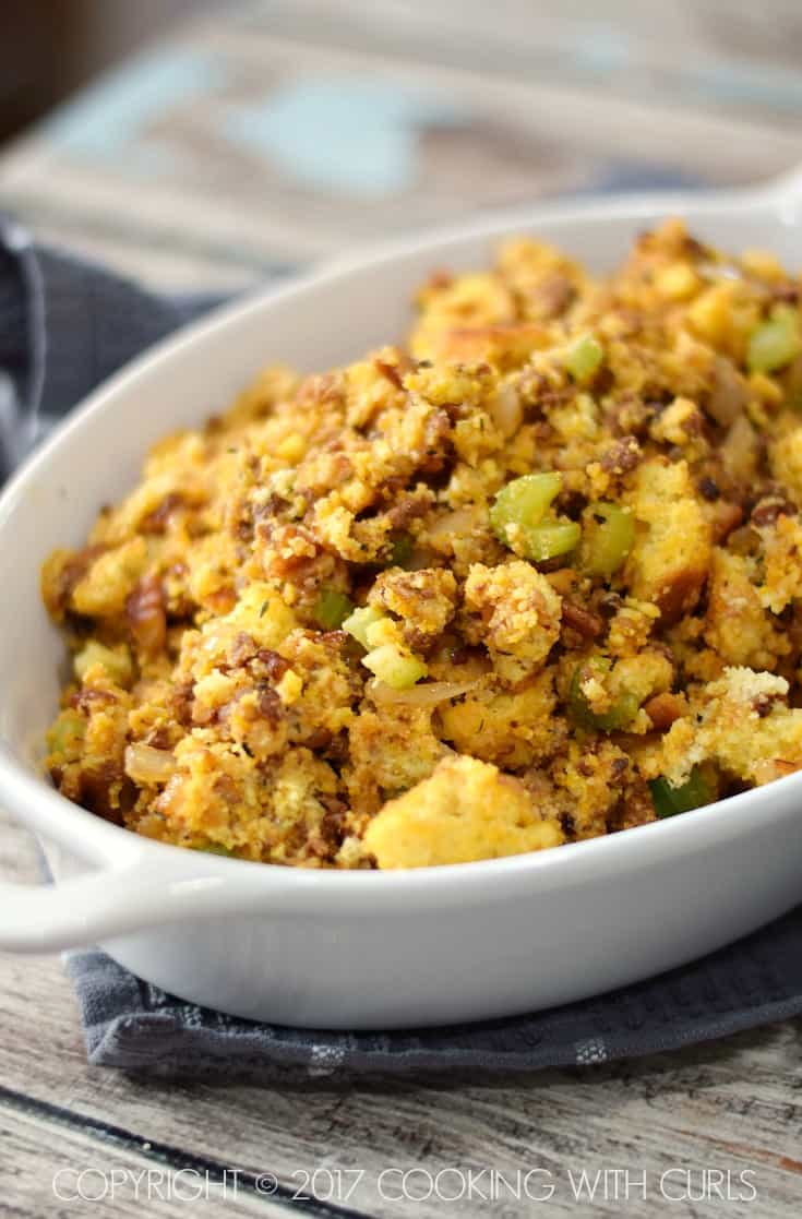 A big bowl of Chorizo Cornbread Stuffing hot out of the oven! | COPYRIGHT © 2017 COOKING WITH CURLS