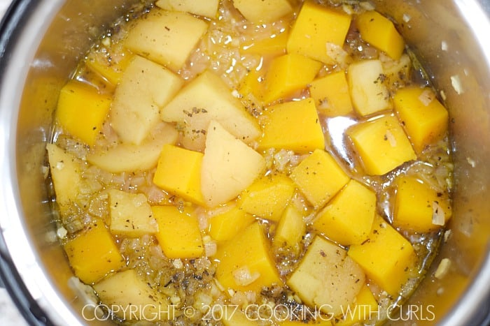 Instant Pot Butternut Squash and Apple Soup done | COPYRIGHT © 2017 COOKING WITH CURLS