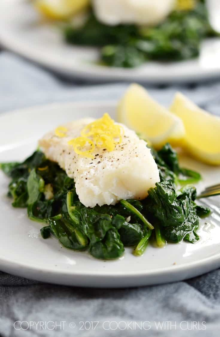 Simple Cod with Sauteed Spinach Dinner for Two | COPYRIGHT © 2017 COOKING WITH CURLS