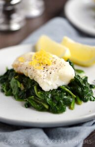 Simple Cod with Sauteed Spinach is the perfect, healthy Dinner for Two   COPYRIGHT © 2017 COOKING WITH CURLS