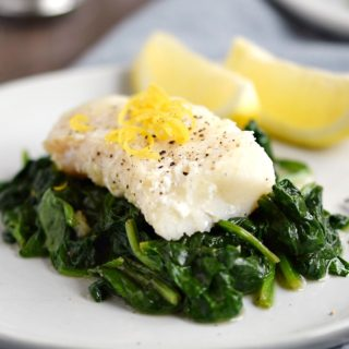 Simple Cod with Sauteed Spinach
