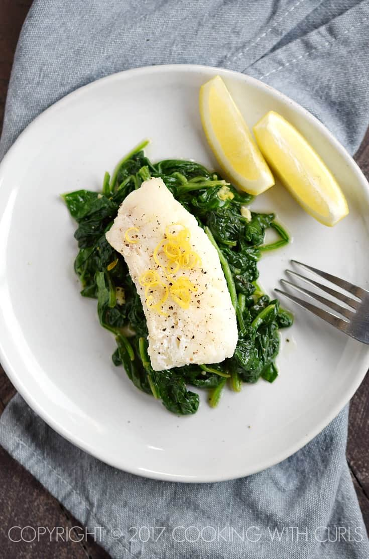 This quick and Simple Cod with Sauteed Spinach if the perfect, healthy Dinner for Two | COPYRIGHT © 2017 COOKING WITH CURLS