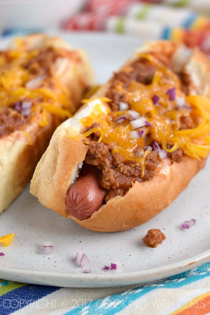 Grab extra buns and dogs because this Chili Sauce for Hot Dogs is about to become your new favorite condiment! COPYRIGHT © 2017 COOKING WITH CURLS