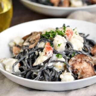 Squid Ink Pasta with Lobster Cream Sauce