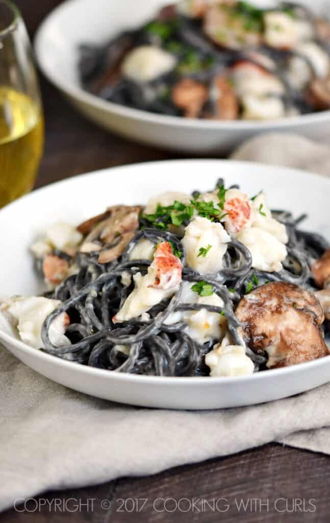 Impress your date with this delicious Squid Ink Pasta with Lobster Cream Sauce | COPYRIGHT © 2017 COOKING WITH CURLS