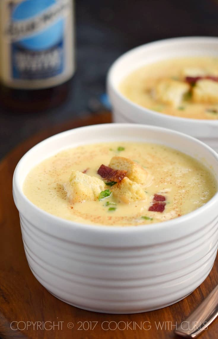 Warm your body and your soul with a big bowl of rich and creamy Instant Pot Cheddar-Ale Soup | Cooking with Curls