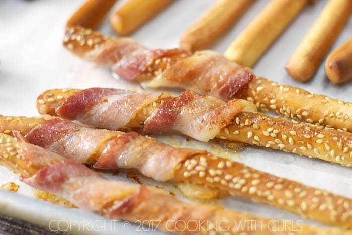 Bacon-Wrapped Breadsticks Appetizer baked COPYRIGHT © 2017 COOKING WITH CURLS