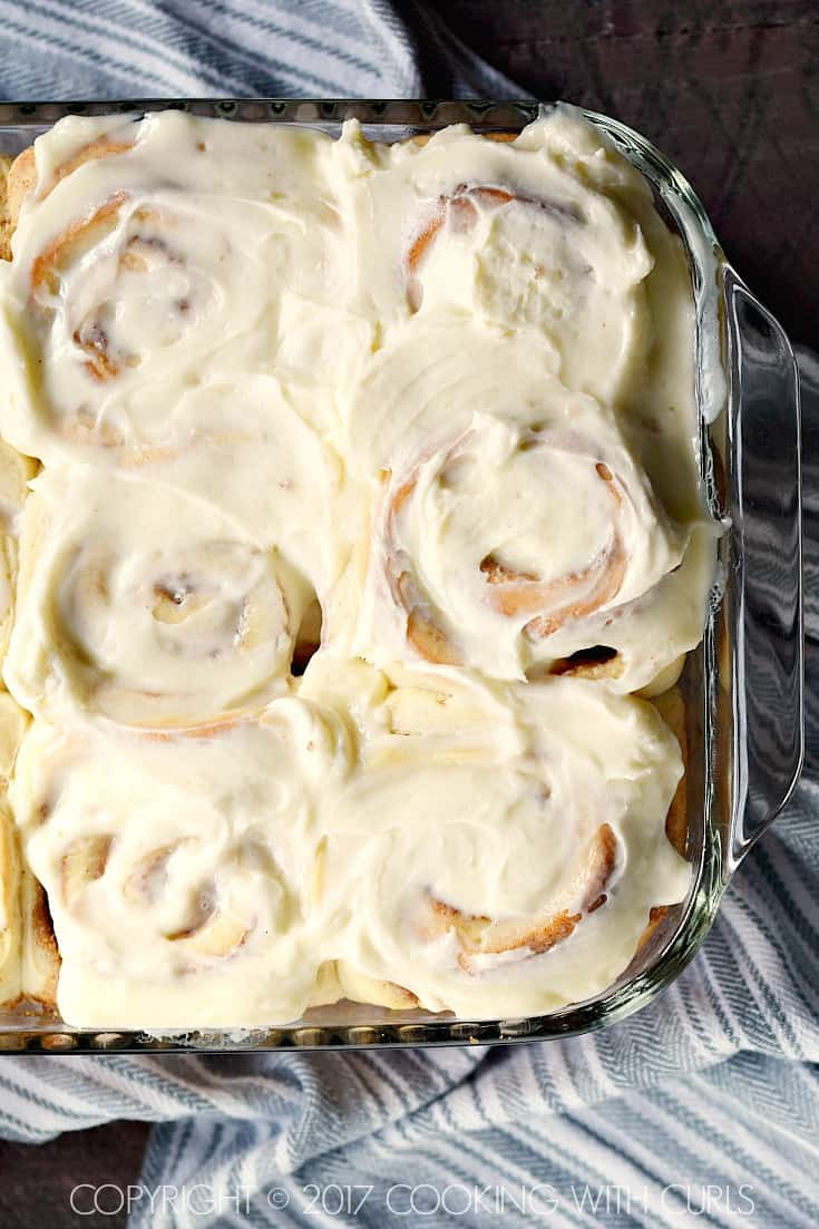 Everyone will fly out of bed in the morning to get their hands on The Best Cinnamon Rolls topped with cream cheese frosting! COPYRIGHT © 2017 COOKING WITH CURLS