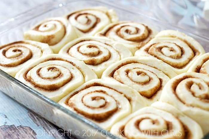 The Best Cinnamon Rolls rise until doubled in pan COPYRIGHT © 2017 COOKING WITH CURLS