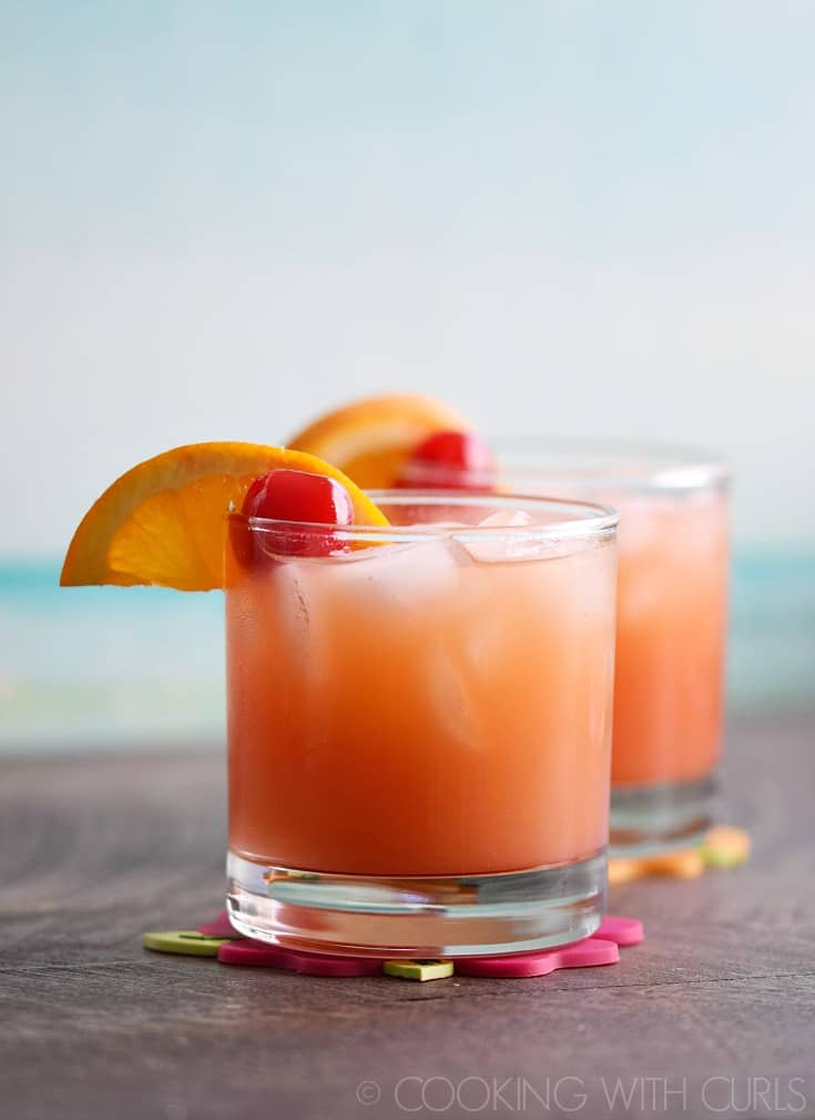 Caribbean Rum Punch is the cure for shoveling snow and braving the freezing cold temperatures! © 2017 COOKING WITH CURLS
