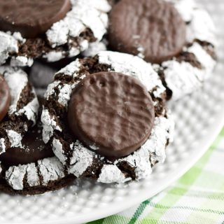 Fudgy Mint Crinkle Cookies on a white plate