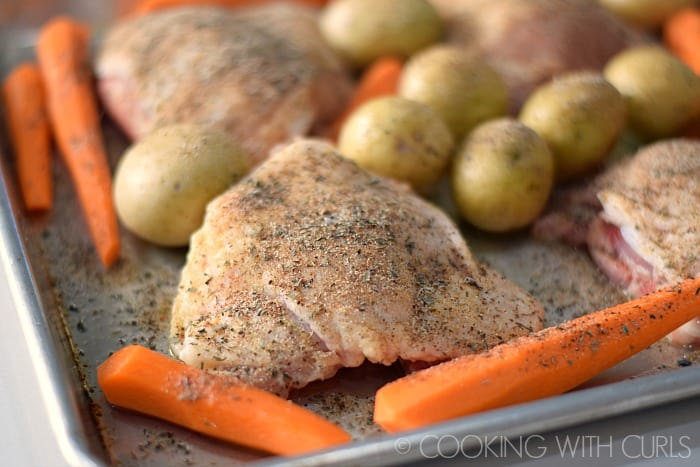 Sheet Pan Roast Chicken Thighs bake © 2017 COOKING WITH CURLS