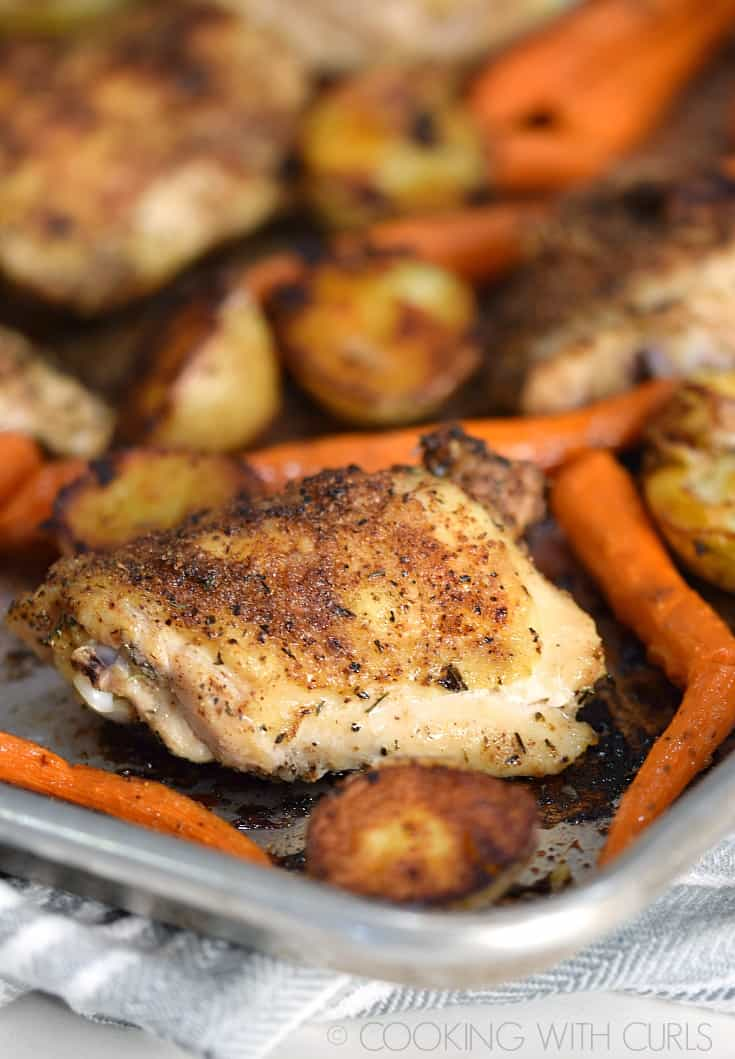 Sheet Pan Roast Chicken Thighs with potatoes and carrots © 2017 COOKING WITH CURLS