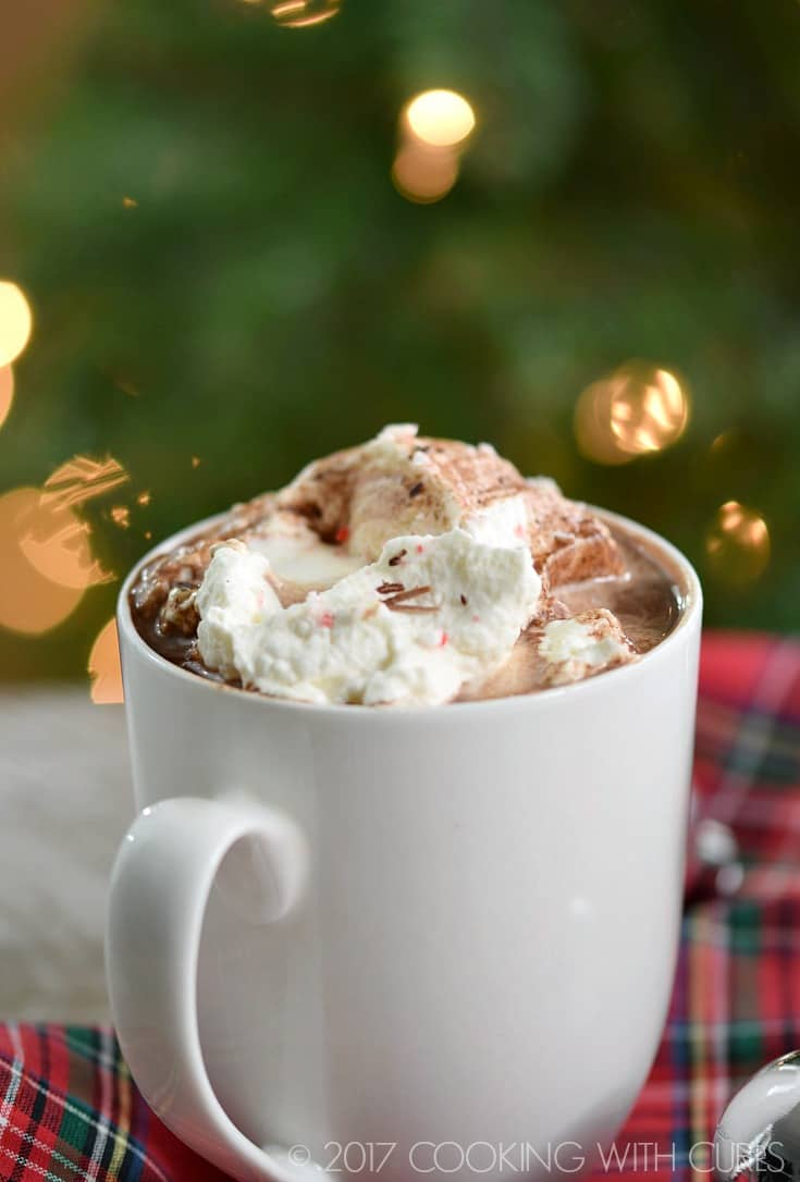 Warm up this holiday season with a rich and delicious mug of Boozy Peppermint Hot Chocolate! © 2017 COOKING WITH CURLS