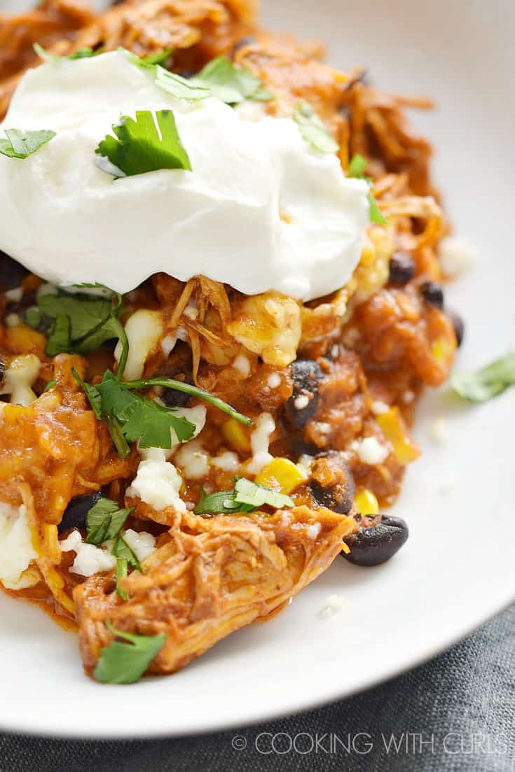 Instant Pot Mexican Casserole topped with sour cream and served on a white plate.