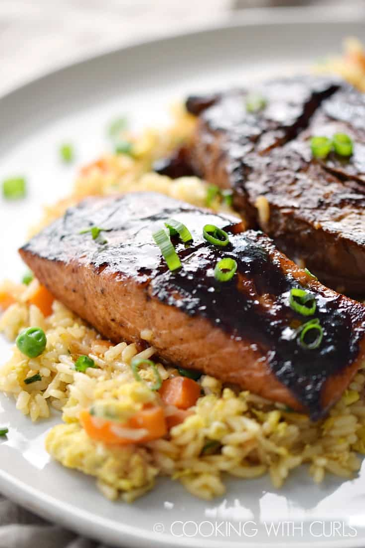 Japanese Hibachi Steak and Salmon cooked to perfection on the grill and served over a bed of fried rice makes the perfect special occasion meal © COOKING WITH CURLS