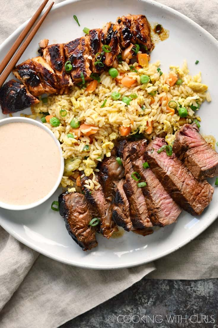 Japanese Hibachi Steak and Salmon with Fried Rice and YumYum Sauce that tastes better than the restaurant version! © COOKING WITH CURLS