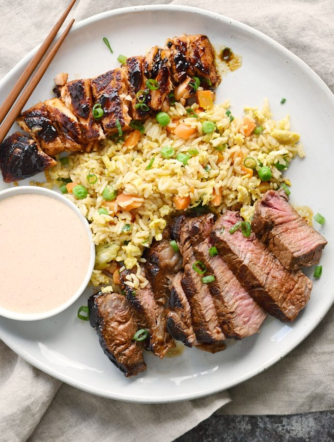 Japanese Hibachi Steak and Salmon with Instant Pot Fried Rice and YumYum Sauce makes the perfect dinner for two! © COOKING WITH CURLS