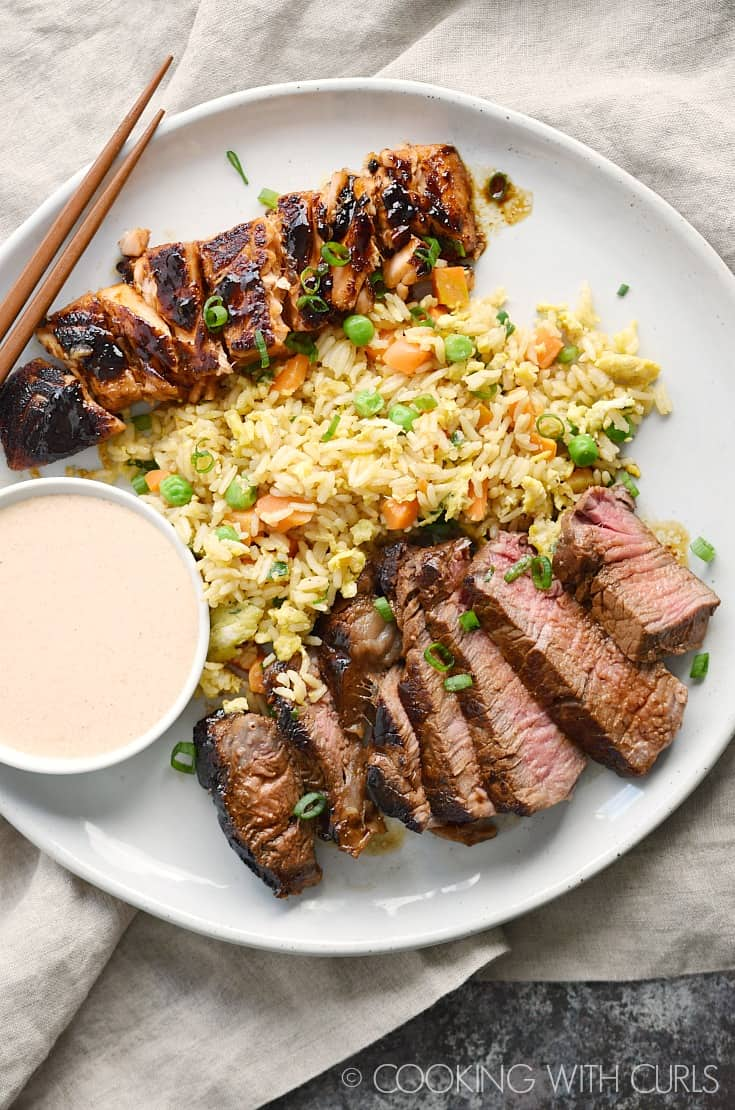 Japanese hibachi steak and salmon cooking with curls japanese hibachi steak and salmon with instant pot fried rice and yumyum sauce makes the perfect ccuart Choice Image