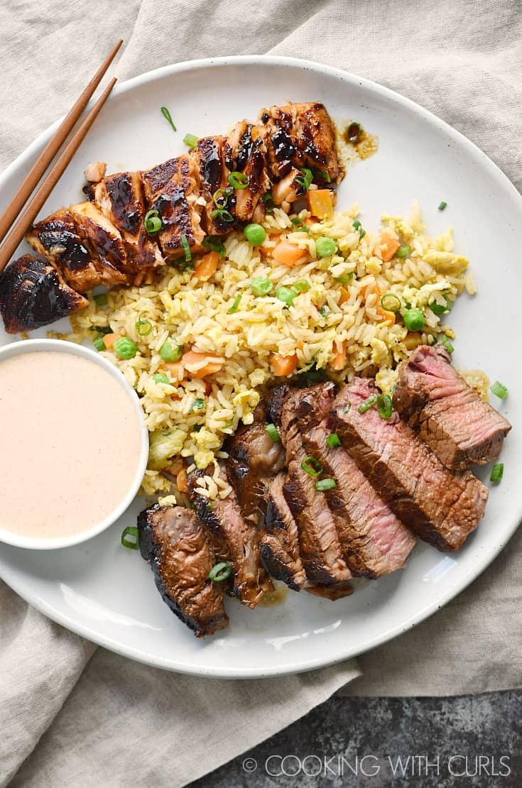 japanese hibachi steak and salmon