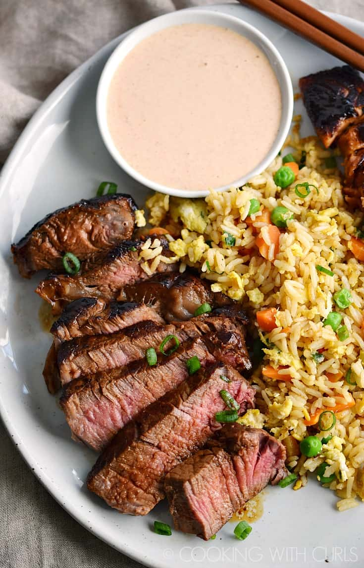 Japanese Steakhouse Yum Yum Sauce goes perfectly with Japanese Hibachi Steak and Salmon and a side of Fried Rice! © COOKING WITH CURLS