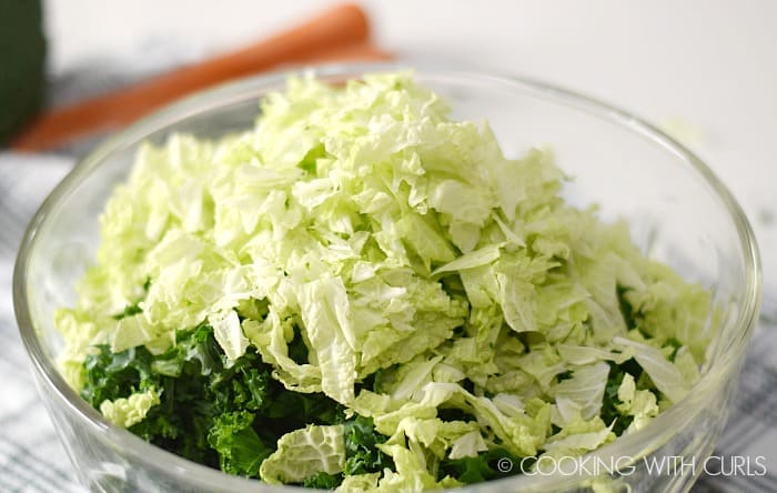 Kale Broccoli Detox Salad lettuce in a large bowl © COOKING WITH CURLS