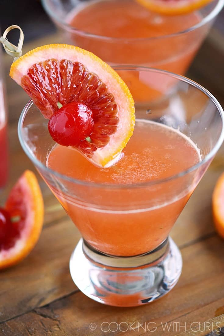 These refreshing Blood Orange Martinis are the perfect adult beverage for date night with their sweet and tart flavors and gorgeous color! © COOKING WITH CURLS