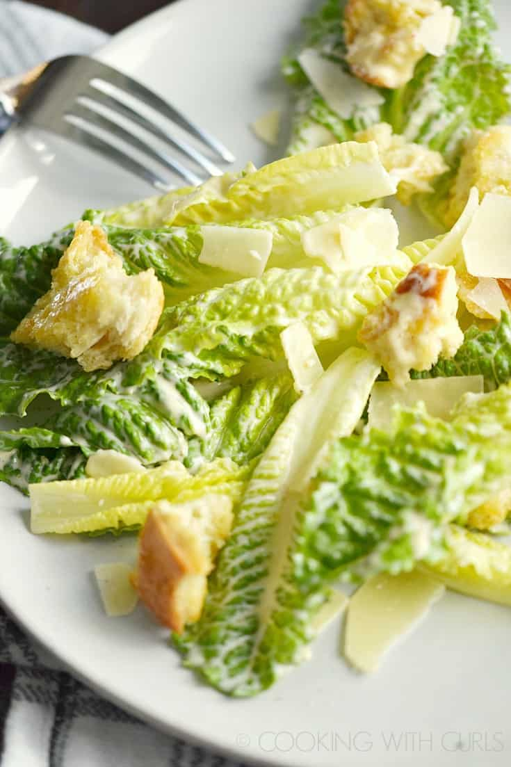 This Classic Caesar Salad is easy to prepare any night of the week! © COOKING WITH CURLS