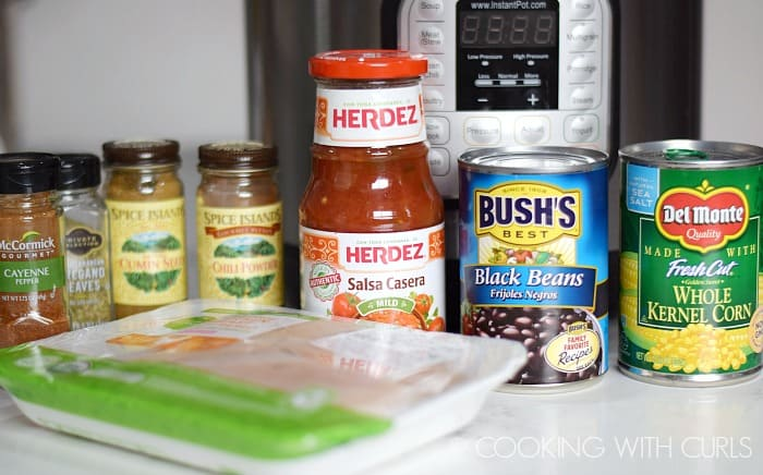 Instant Pot Chicken Taco Bowls ingredients on the counter
