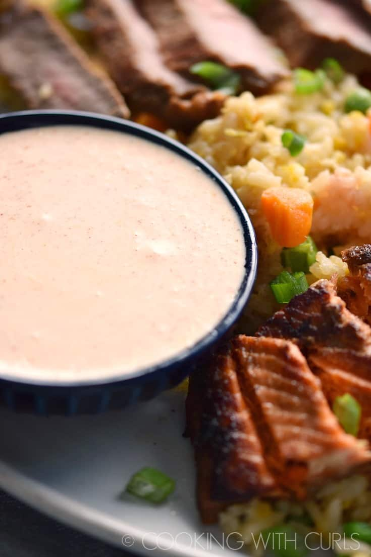 Japanese Steakhouse Yum Yum Sauce is a must with your Hibachi Steak and Salmon! © COOKING WITH CURLS
