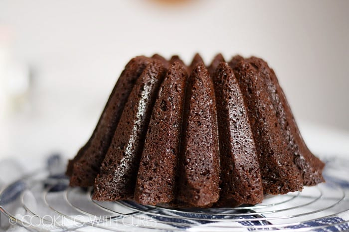 Mini Chocolate Bundt Cake on a cooling rack
