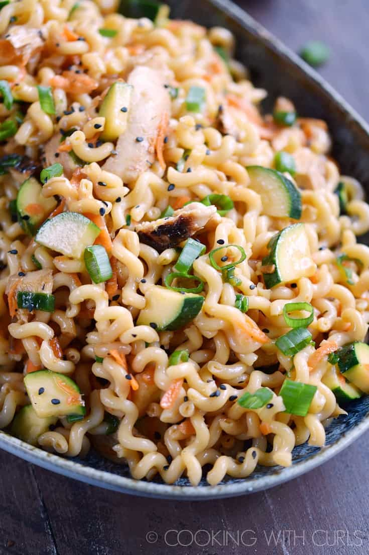 Sesame Noodles with Grilled Chicken, Carrots and Zucchini is a light yet filling meal that is perfect any time of the year! © COOKING WITH CURLS