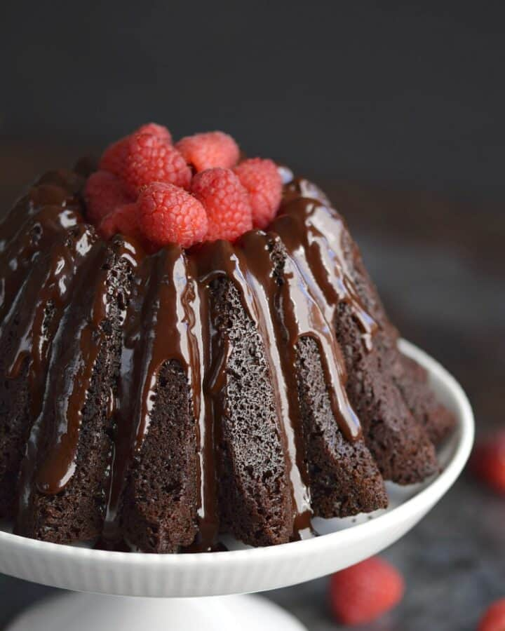 The BEST Mini Chocolate Bundt Cake EVER has six delicious servings to satisfy your chocolate cravings! © COOKING WITH CURLS