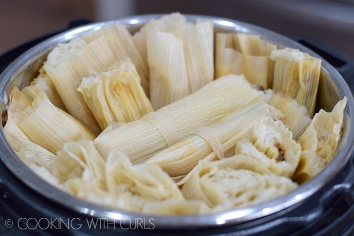 Cooked Red Chile Tamales in the Instant Pot © COOKING WITH CURLS