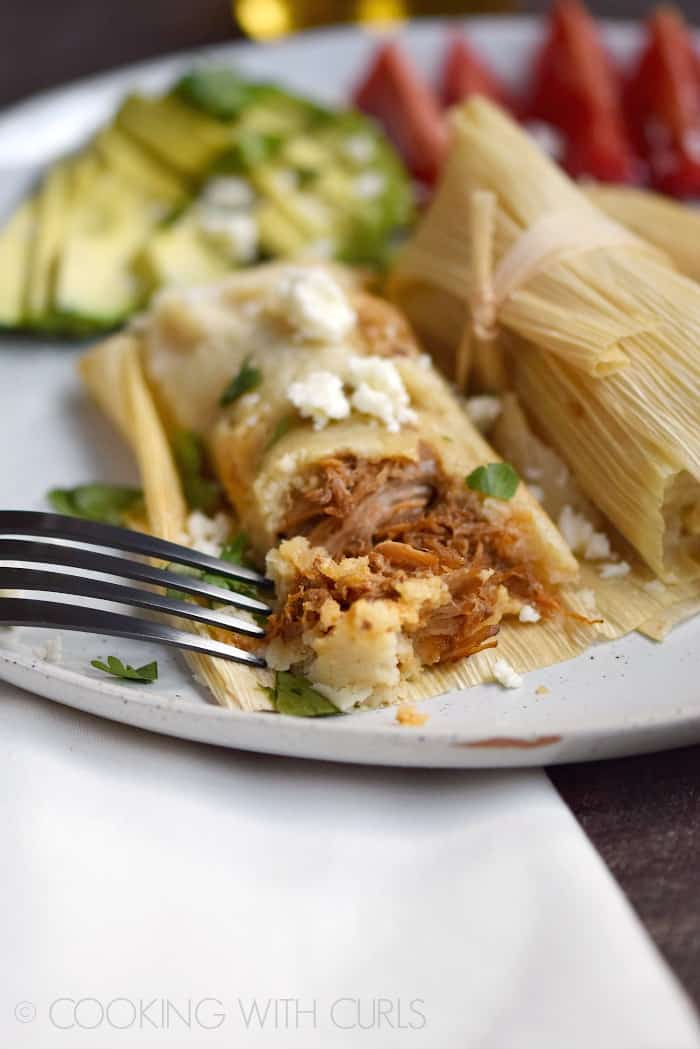 Instant Pot Red Chile Pork Tamales just in time for Cinco de Mayo! © COOKING WITH CURLS