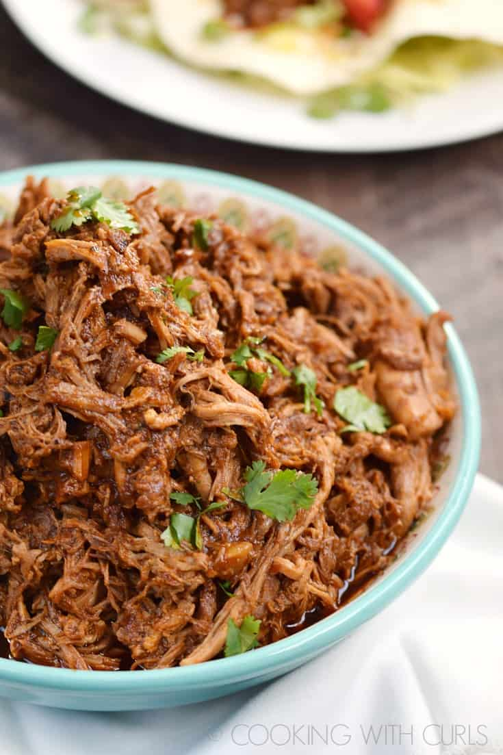 Instant Pot Red Chile Pork Cooking With Curls