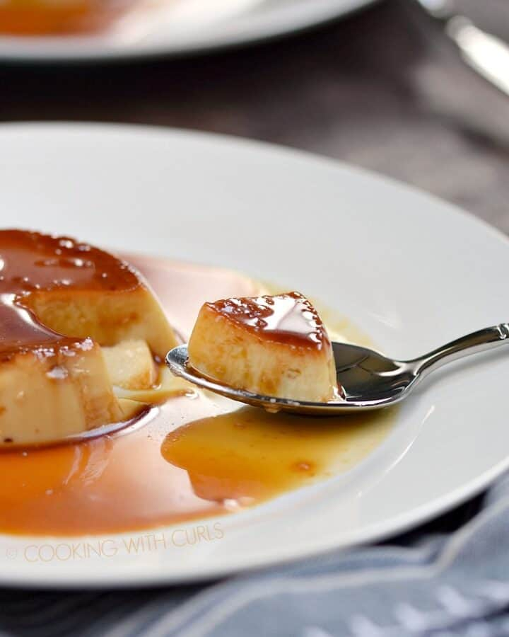 Silky smooth custard topped with a sweet caramel make this Instant Pot Kahlua Flan an impressive yet easy dessert! © COOKING WITH CURLS